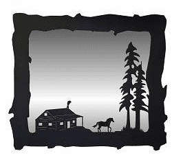 Horse and Cabin Big Horizontal Mirror