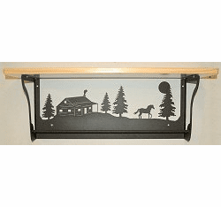 Horse and Cabin Rustic Towel Bar with Shelf