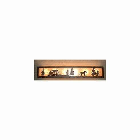 Horse and Cabin Valance Style Bath Vanity Light
