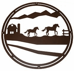 Horse and Farm Circle Wall Art
