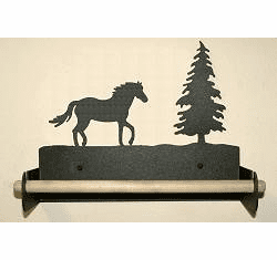 Horse Paper Towel Holder with Wood Bar