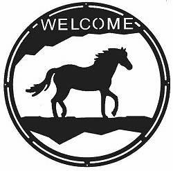 Horse Round Welcome Sign