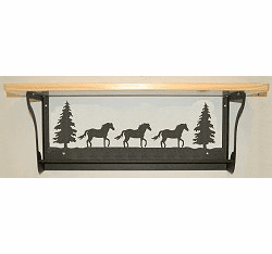 Horse Rustic Towel Bar with Shelf
