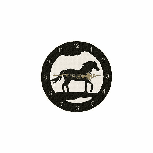 Horse Smooth Edge Rustic Clock