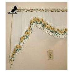 House Cat Curtain Rod Holder Pair