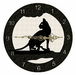 House Cat Smooth Edge Rustic Clock