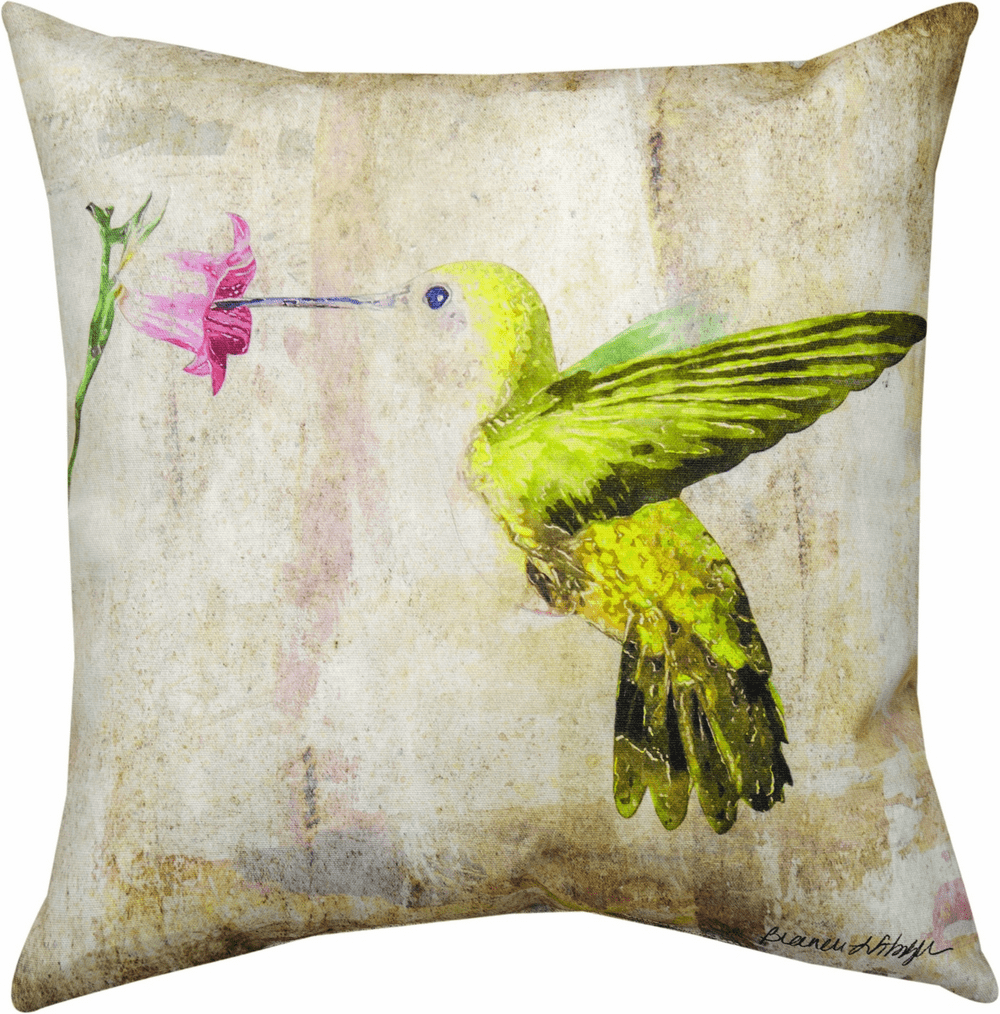 Hummingbird Floral III Climaweave Pillow