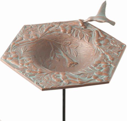 Hummingbird Garden Bird Feeder - Copper Verdigris
