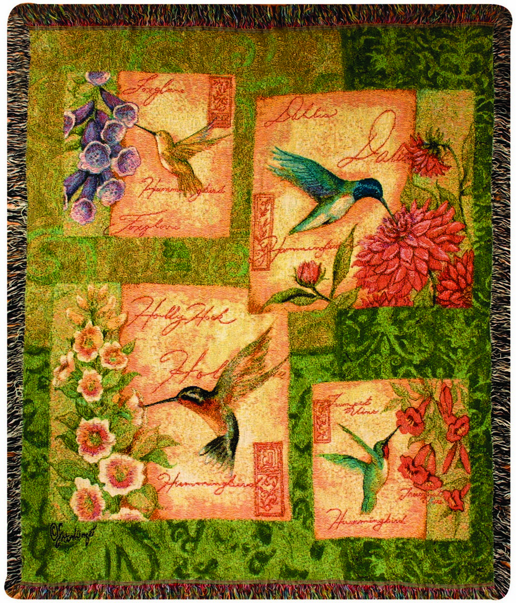 Hummingbirds and Blossoms Tapestry Throw