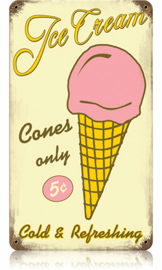 Ice Cream Cone 10 Cents - Old Fashioned Ice Cream Sign