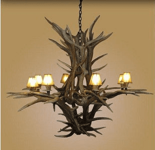 Inverted Elk 8 Light Chandelier with Shades
