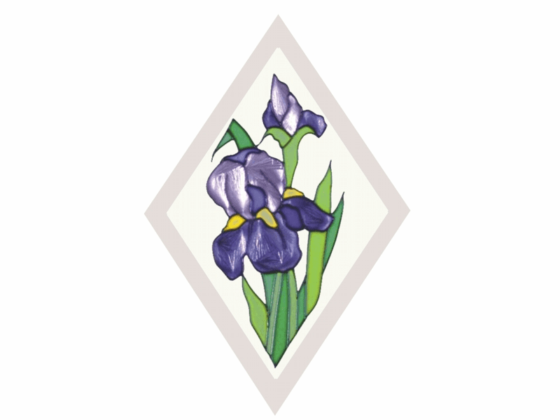 Iris in Diamond I Stained Glass Art Glass