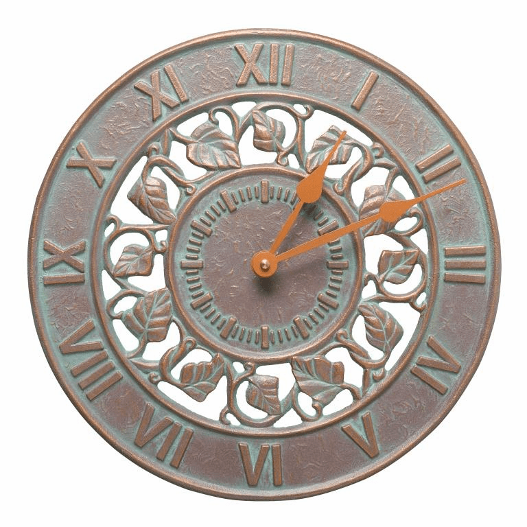 Ivy 12 inches Indoor Outdoor Wall Clock - Copper Verdigris