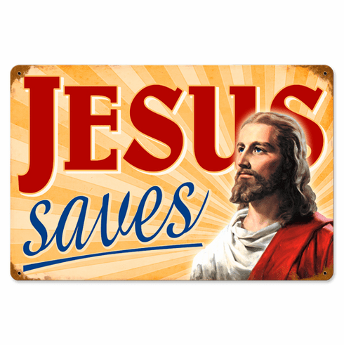 Jesus Saves - Aged Metal Sign