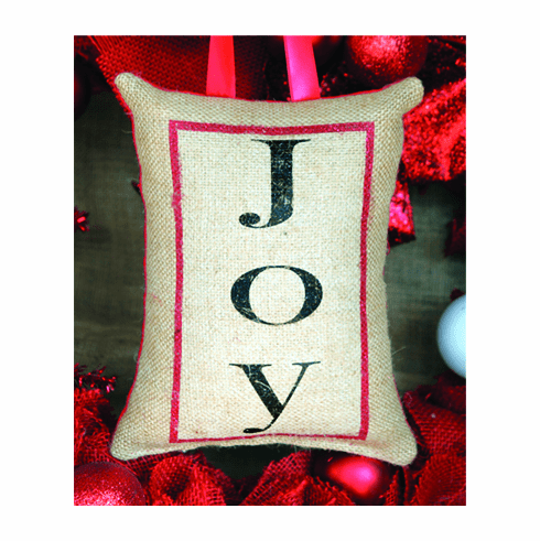 Joy Merry Christmas Pillow, 8in x 6in