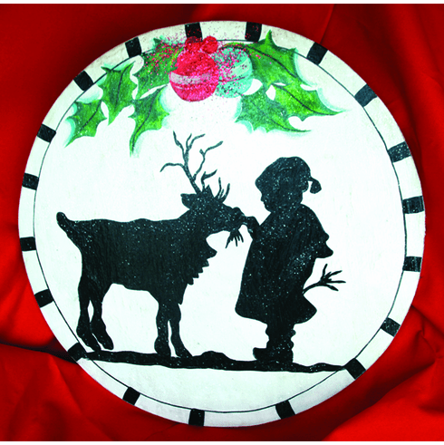 Kid Feeding An Animal Painted Merry Christmas Sign, 24 inch round
