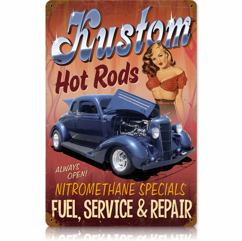 Kustom Hot Rods Sign - Vintage Hot Rod Sign