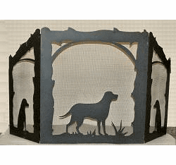 Lab Retriever Arched or Straight Top Fireplace Screen
