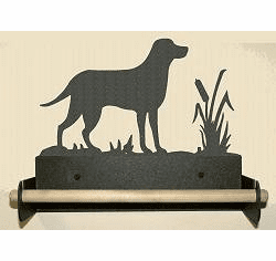 Lab Retriever Paper Towel Holder With Wood Bar