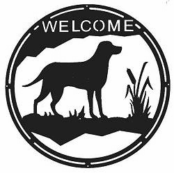 Lab Retriever Round Welcome Sign