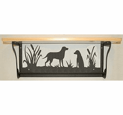 Lab Retriever Rustic Towel Bar with Shelf