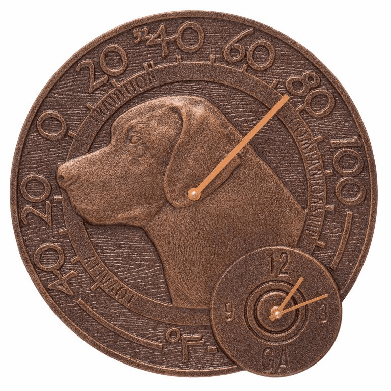 Labrador 14 inches Indoor Outdoor Wall Clock & Thermometer - Antique Copper