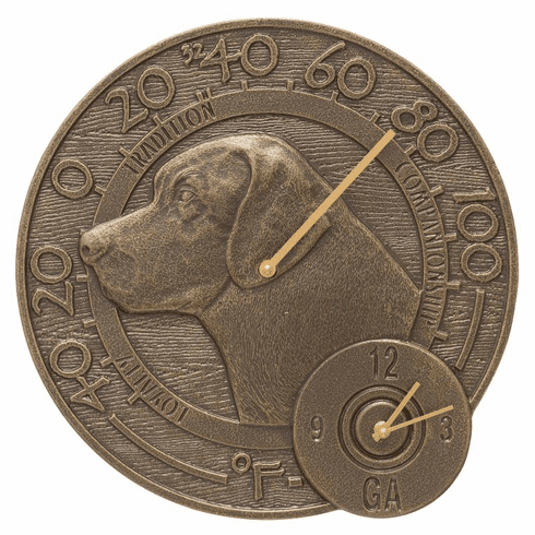 Labrador 14 inches Indoor Outdoor Wall Clock & Thermometer - French Bronze