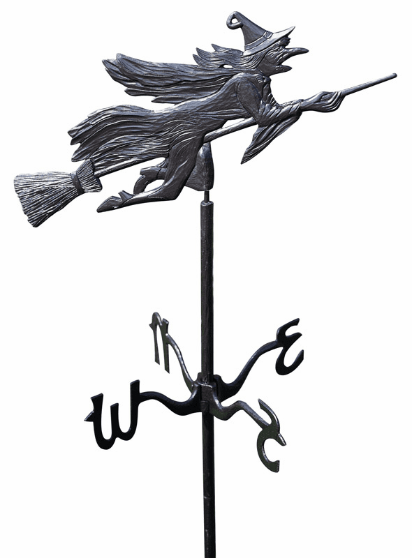 Lawn or Garden Weathervane w/ Flying Witch Ornament