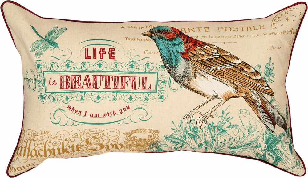Life is Beautiful Embroidered Pillow