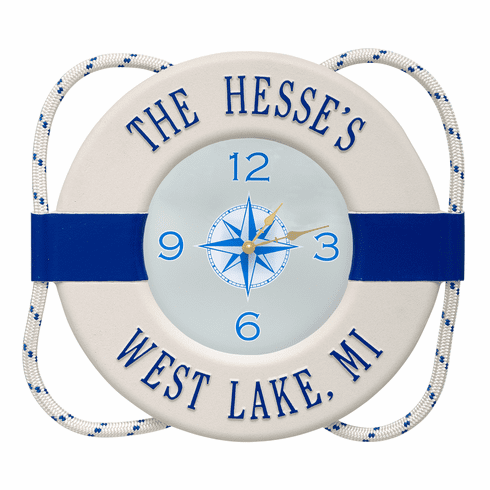 Life Ring Buoy Indoor Outdoor Wall Clock - White and Navy