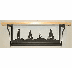 Lighthouse and Sailboat Rustic Towel Bar with Shelf