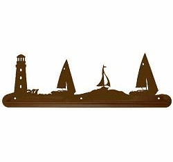 Lighthouse and Sailboat Scenery Towel Bar