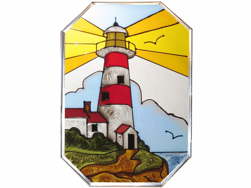 Lighthouse Beaming Light Stained Glass Art Glass