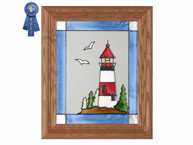 Lighthouse in Red and White Stained Glass Art Glass