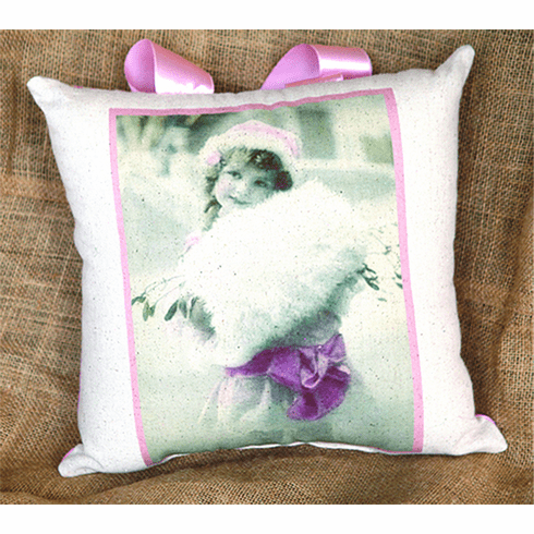 Little Girl Pink Ribboned Merry Christmas Pillow, Set of 2, 10in x 10in