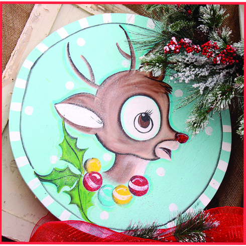 Little Reindeer Painted Wood Merry Christmas Sign, 24 inch round