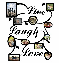 Live Laugh Love, Ivy Motif, Collage Picture Frame