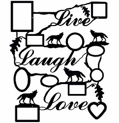 Live Laugh Love, Wolf Motif, Collage Picture Frame