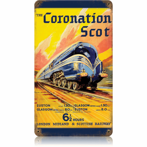 London Midland and Scottish Railway - Coronation Scot Train Sign