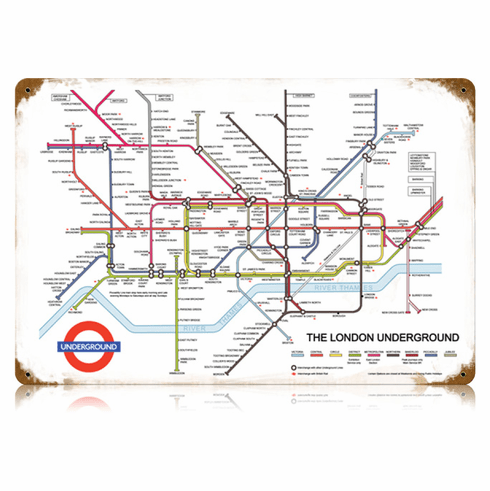London Underground Railway System Map Sign