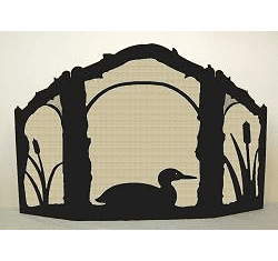 Loon On the Pond Fireplace Screen - Arched Top