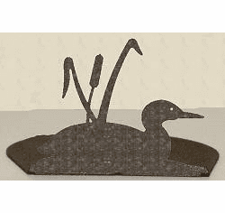 Loon with Cattails Silhouette Candle Holder