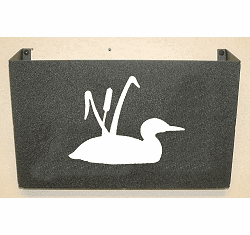 Loon with Cattails Wall Mount Magazine Rack