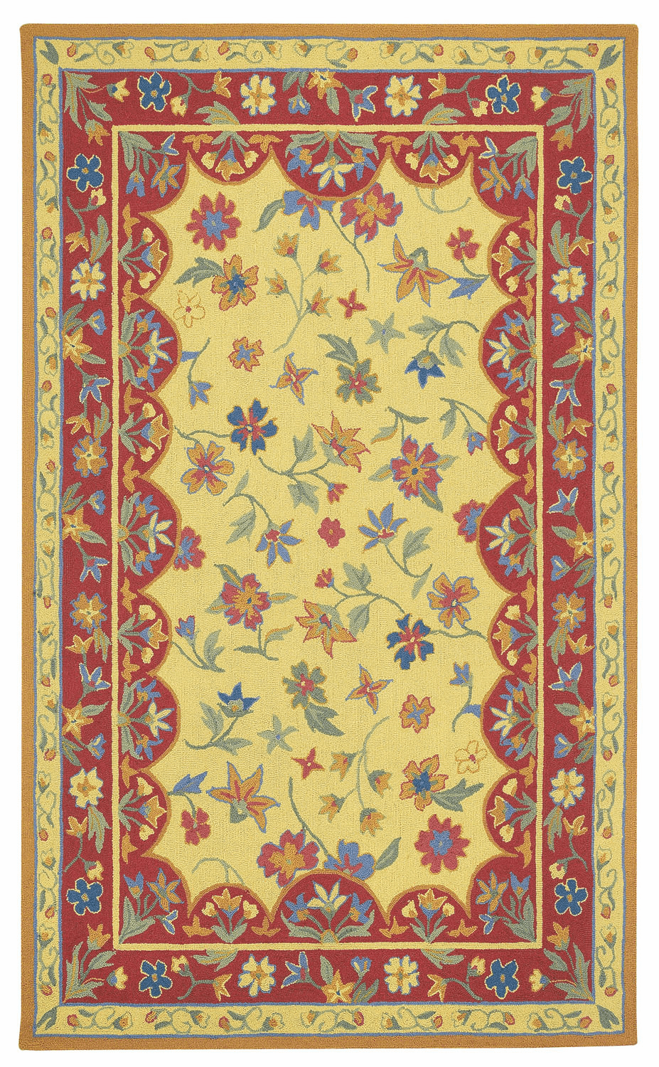 Loop Hooked Amber Red Rug