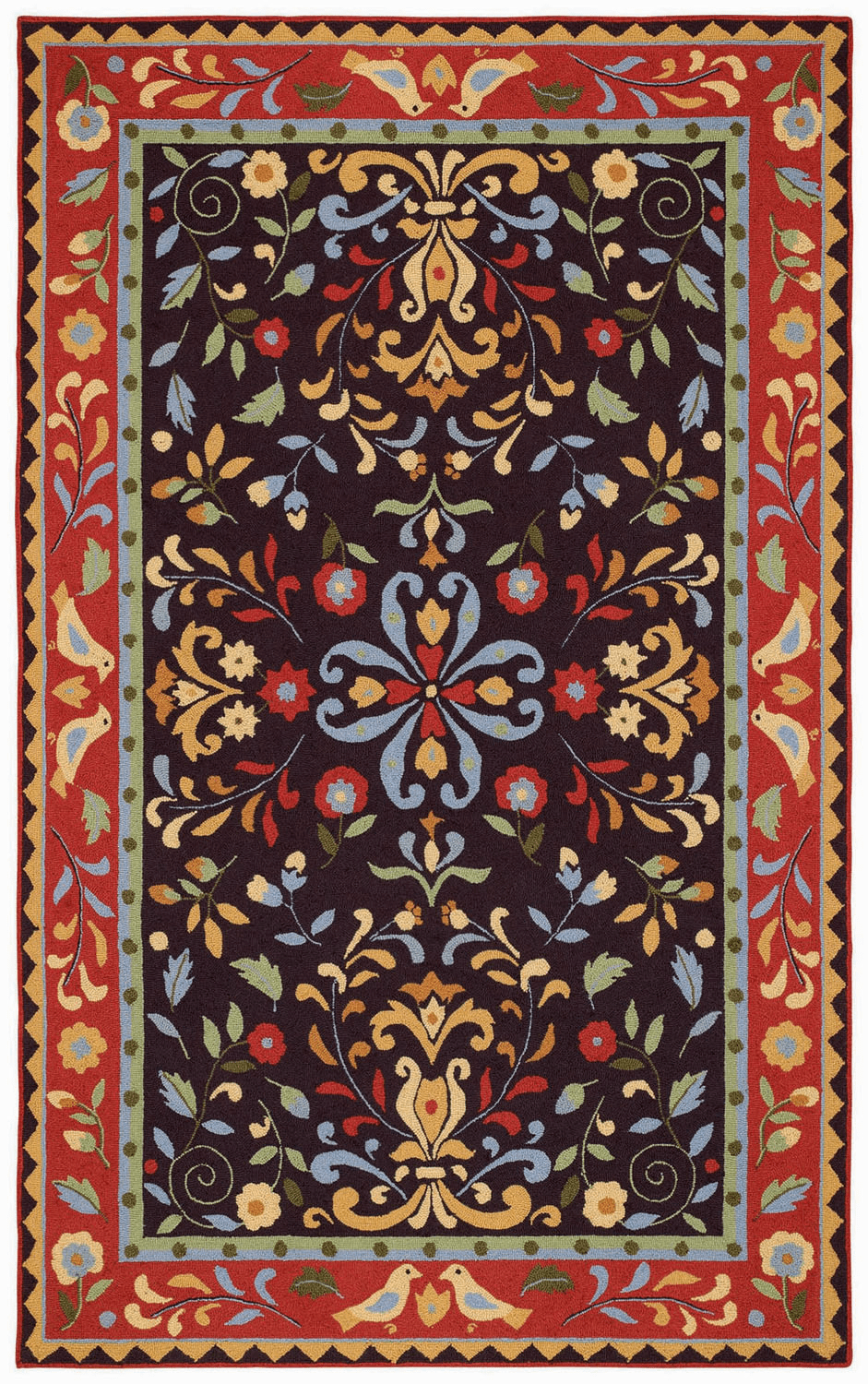 Loop Hooked Brown Rug