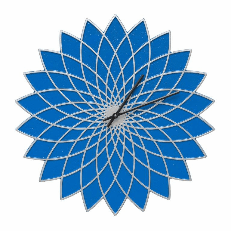 Lotus 16 inches Indoor Outdoor Wall Clock - Dark Blue and Silver