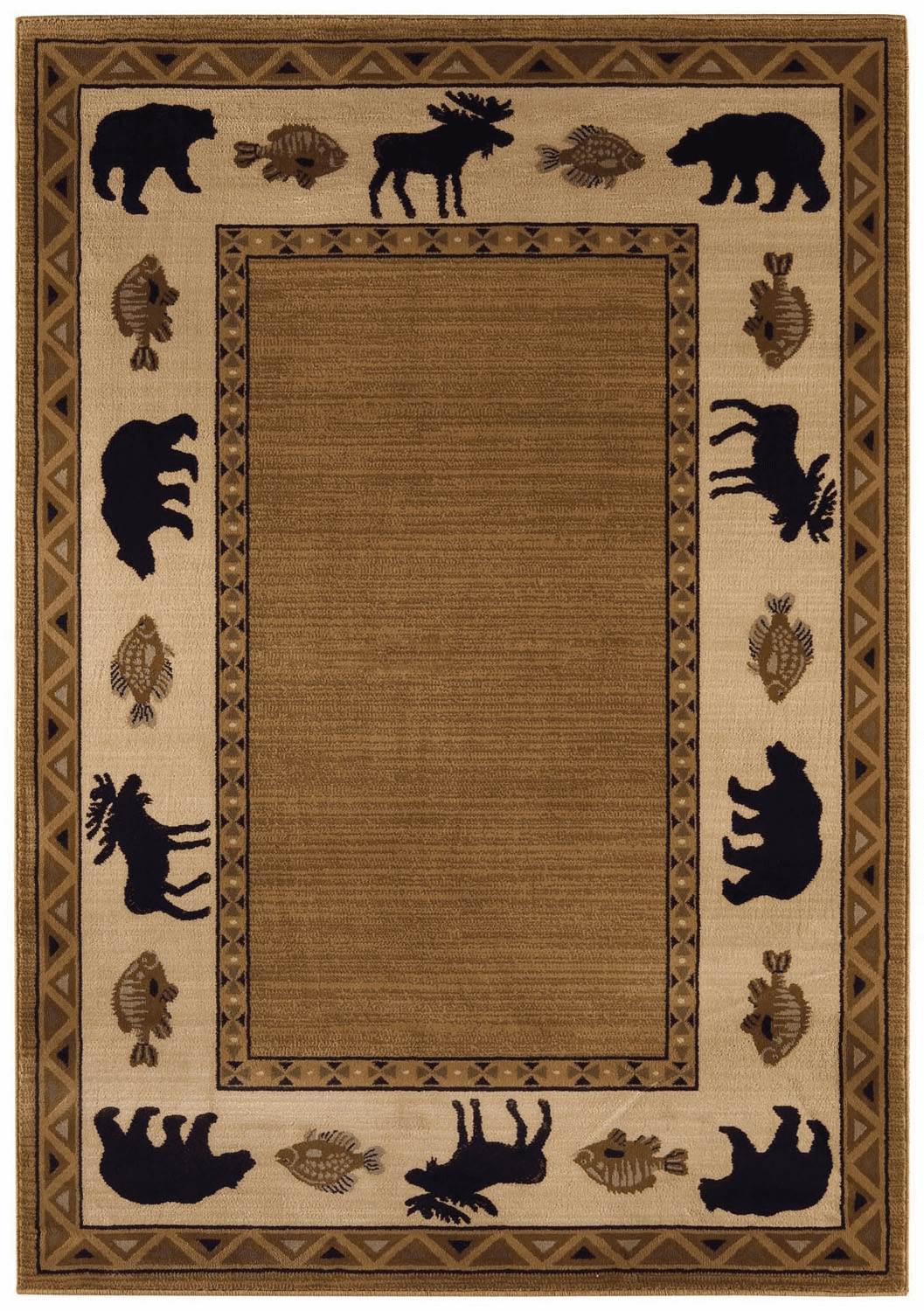 Machine Woven Medium Brown Rug