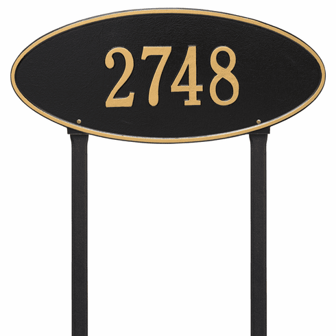 Madison Oval Estate Lawn One Line Plaque in Black and Gold