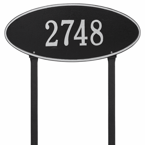 Madison Oval Estate Lawn One Line Plaque in Black and Silver