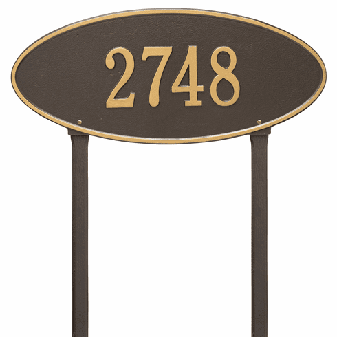 Madison Oval Estate Lawn One Line Plaque in Bronze and Gold